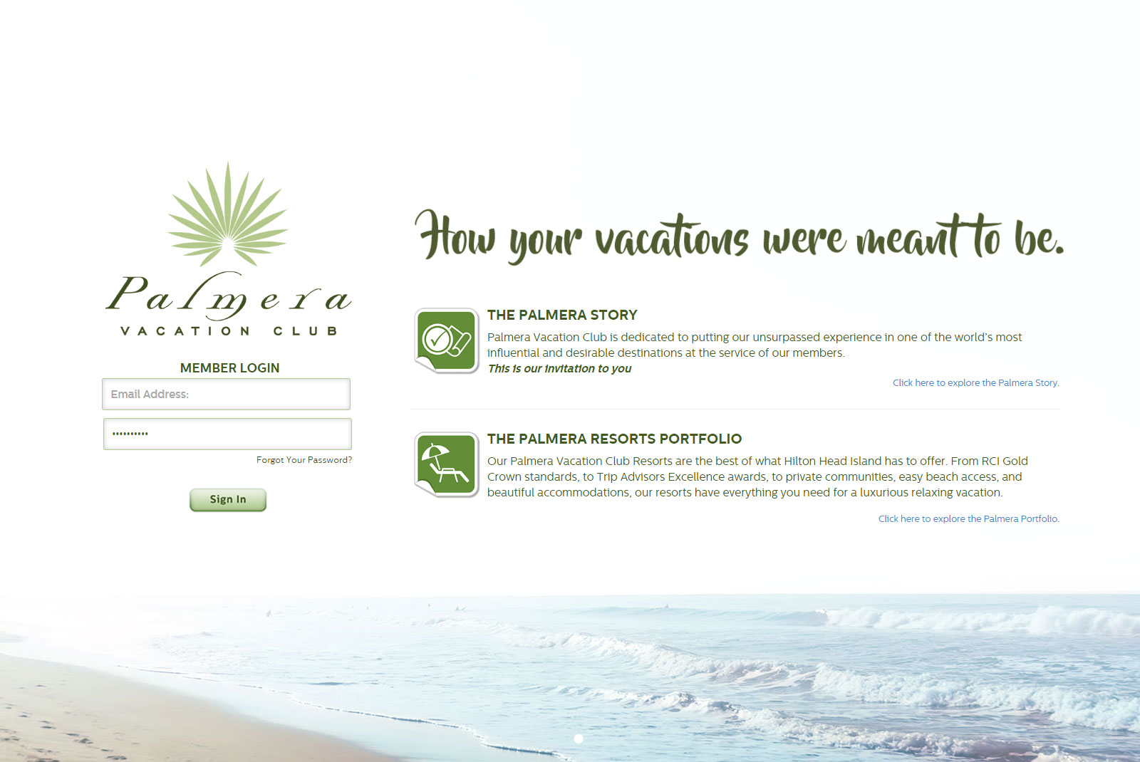 Palmera Vacation Club Homepage