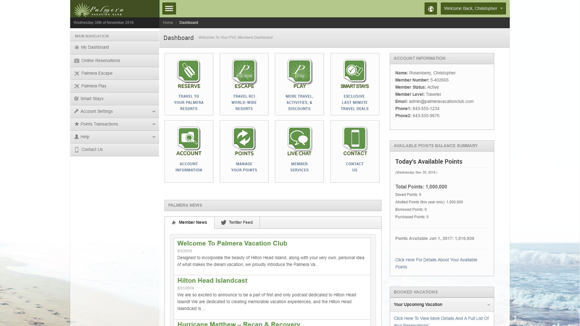 Palmera Vacation Club - Member Portal dashboard